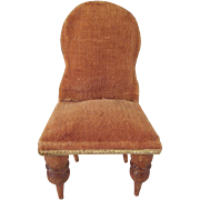 "Germany 3/4"" Velvet Covered Bedroom Chair Dollhouse Furniture"