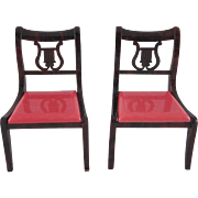 """SALE Pair of Ideal 3/4"""" Dining Room Chairs with Red Seats Dollhouse Furniture"""