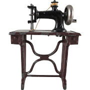 Made in Germany Heavy Cast Metal Sewing Machine with Thread Dollhouse Furniture Miniature
