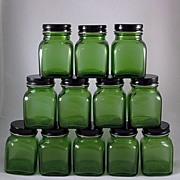 SALE PENDING Original Box of 12 Forest Green 'Powder' Jars Owens-Illinois
