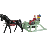 Barclay One Horse Open Sleigh 4 Piece Figure Set from the Winter Series