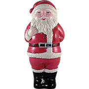 "Celluloid 4"" Tall Santa with Doll Made in Japan Figure"