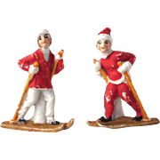 Pair of Made in Germany Bisque Skiing Figures