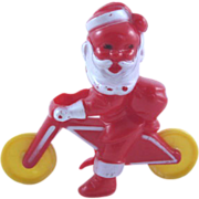 Rosbro Hard Plastic Santa on a Motorcycle Candy Holder Christmas Decoration