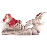 SALE Paper Mache Santa in Sleigh with Reindeer Christmas Decoration