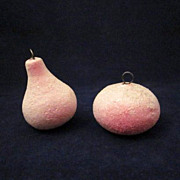 SOLD Spun Cotton Pear & Apple Christmas Ornaments - Red Tag Sale Item
