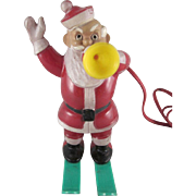 SALE Rosbro Hard Plastic Santa on Skis Blowing a Horn Light Works