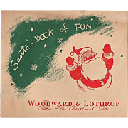 'Santa's Book of Fun' from Woodward & Lothrop Unused Activity Book