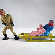 Barclay Winter Figures Man Pulling Children on a Sled 3 pieces HTF