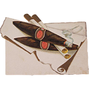 SALE Early Embossed Christmas Card with Cigars and a Cigarette