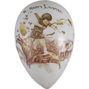 Large Milk Glass Egg with Cupid 'A Happy Easter'