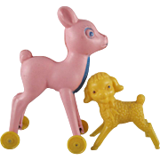 Tico Vinyl Deer on Wheels and Lamb Vintage Easter Basket Toys
