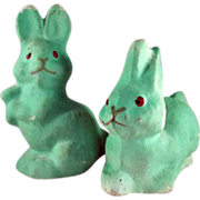 Pair Smaller Coated Pulp Bunnies from an Easter Basket