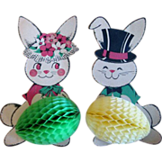 Made in U.S.A. Mr. & Mrs. Rabbit Stand Up Diecuts with Tissue Paper Accordion Eggs 1960s