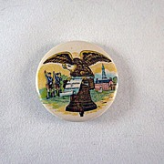 SALE Celluloid Pinback Button shows a Declaration of Independence Scenario