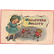 Halloween 'Jollity' Postcard Girl with JOL Man and Fairies