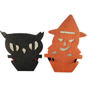 SALE Pair of Beistle Reversible Silhouette Nut Cups Witch & Owl for Halloween