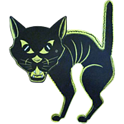 SALE Beistle Halloween Diecut of a Screech Cat with a Large Head
