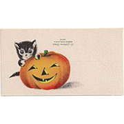 Gibson Halloween Placecard Cat Peering from Behind a JOL Not Used