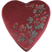 Red Heart Shaped Box with Hand Painted Flowers on Silk for Valentine's Day