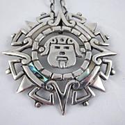 Vintage Taxco Mexican Silver & Abalone Alberto Diaz Ocampo  Idol, Sun, Star Pendant/Pin wi