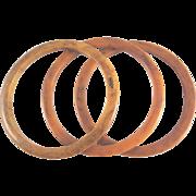 Dark Butterscotch Swirled Bakelite 3 Spacer Bangle Bracelets