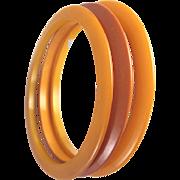 3 Butterscotch Bakelite Flat Spacer Bangle Bracelets