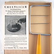 Bakelite Handled Cheese Slicer in Original Box with Cutting Board and Brochure