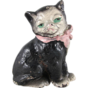 SALE Hubley Cast Iron Black and White Cat Paperweight