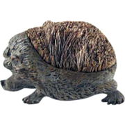 Early Figural Cast Metal Hedgehog Brush