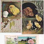 3 Vintage Easter Postcards 1910s