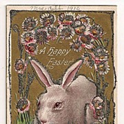 'A Happy Easter' Bunny with Chicks and Glitter Postcard 1910