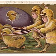SOLD 'Easter Greetings' Chick Hatches With 2 Running with Children Dressed as Chicks Postcard