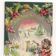 SALE 'With Best Wishes - A Merry Christmas . . .' Kids Play in Snow Postcard 1910