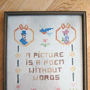 Framed Cross Stitch Picture 'A Picture is a Poem Without Words'
