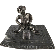 SALE Made in Austria Baby Sits on a Blanket Metal Thimble Holder