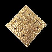 Mid Century Modern Crown Trifari Diamond Shaped Brooch