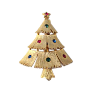 J.J. Christmas Tree Brooch