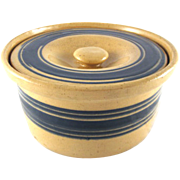Yellow Ware Covered Butter Crock with Blue Slip Bands Hard to Find