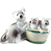SALE Japan Bisque Mommy Cat with Kittens in a Basket Pincushion
