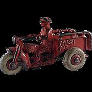 Vintage Hubley Cast Iron 'Crash Car' Motorcycle