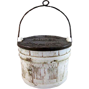 SALE 'Ye Olde Oaken Bucket' Milk Glass Candy Container with the Tin Lid & Bail