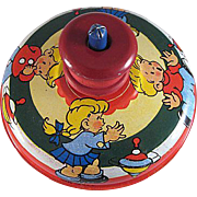 Ohio Art Tin Litho Top with Wooden Spinner Illustrated by Hileman