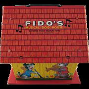Tin Litho Ohio Art Fido's Musical Dog House Works 1950s