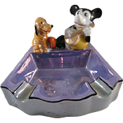 SALE WDE Mickey & Pluto Made in Japan Lustre Ash Tray c1930s
