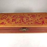 Wooden 'School Days' Pencil Box