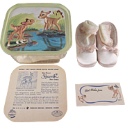 SALE Walt Disney Bambi Baby Shoes in Original Box with Lid to Hang