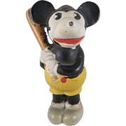SALE Bisque Mickey Mouse Baseball Player Holding a Bat Figure Walt E. Disney