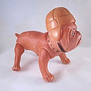 Celluloid  Bulldog Jointed Toy with Early Football Helmet