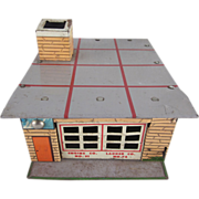 Wyandotte Toytown Fire Department Tin Litho Toy Building